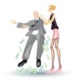 Girl shakes out a money — Stock Photo