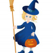 Little witch with a pumpkin-lantern - Stock Photo