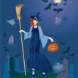 Merry young witch with a pumpkin — Stock Photo