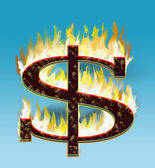 Flaming dollar — Stock Photo