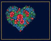 Valentine of flowers on black background — Stock Photo