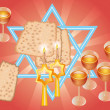 Stock Photo: Pesach Seder or wine and matza