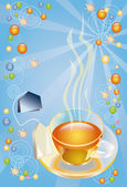 Invitation on a cup of tea — Stock Photo