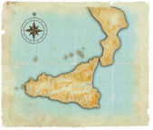 A map of Sicily is in age-old style — Stock Photo