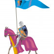 Illustration with medieval Knight in a parade ve - Stock Photo
