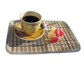 Cup of coffee and candy — Stock Photo