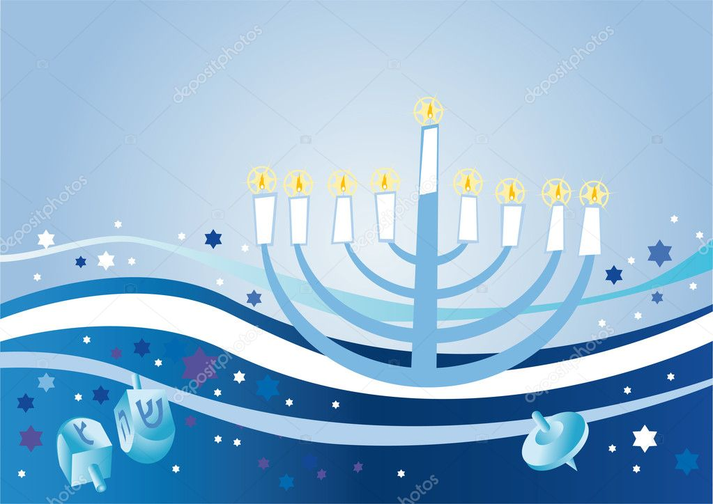 Abstract background from the stars of David and Menorah — Stock Photo #2443300