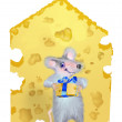 A mouse is given by the piece of cheese - Stock Photo