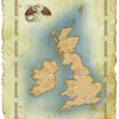 Stock Photo: Map of Great Britain in age-old style