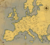 A map of Europe is in age-old style — Stock Photo