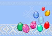Easter eggs on a blue background — Stock Photo
