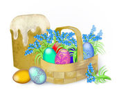 Ostereier und frühlingsblumen — Stockfoto
