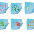 6 stickers-reminders with holidays — Stock Photo