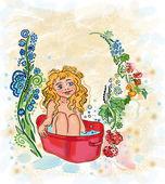Une jeune fille se baigne — Photo