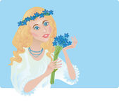 A girl is in the chaplet of corn-flowers — Stock Photo