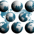 Earth globes over continents — Stock Vector