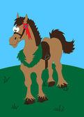 Caballo castaño de dibujos animados — Vector de stock