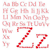 Alphabet made of hearts — 图库矢量图片