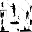 Fishermen and fishing — Imagen vectorial