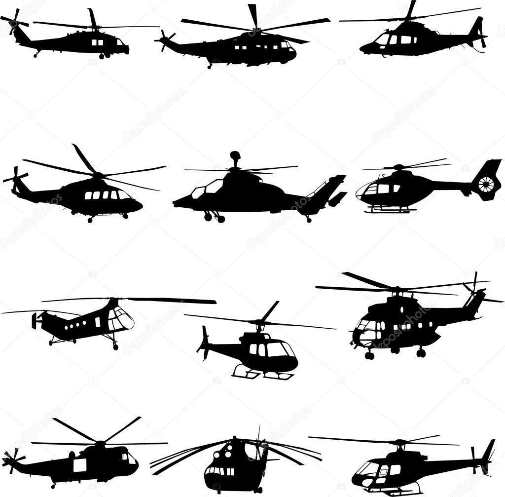 直升机 — 图库矢量图像08