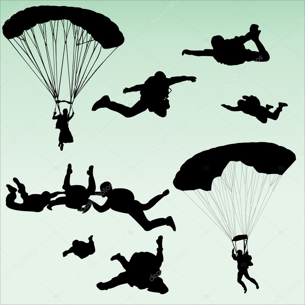 Parachutists silhouette collection - vector — Stock Vector #2523192