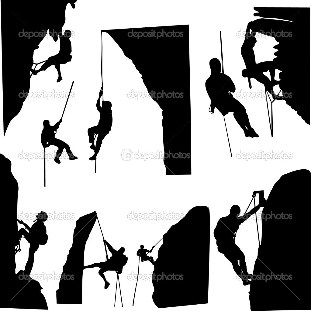 Rock climbers silhouette collection - vector — Stock Vector #2526799