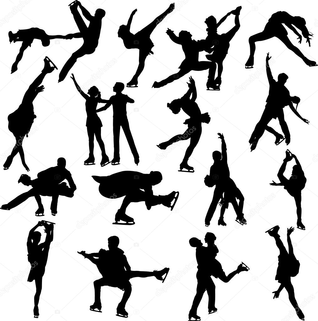 figure skating silhouette vectors — Stock Vector #2526983