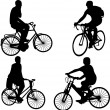 Riding bicycle - Stock Vector