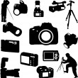 Stock Vector: Photographers and cameras