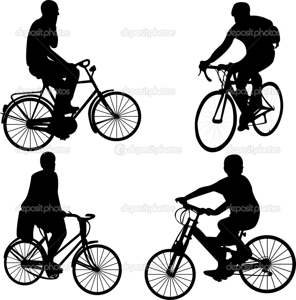 Riding bicycle - vector  Stock Vector #2591420