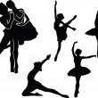 Ballet silhouette collection — Stock Vector