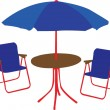 Beach chair, table and umbrella — Stock Vector