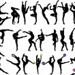 Big collection of gymnastics girls - Stock Vector
