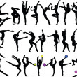 Big collection of gymnastics girls — Stock Vector