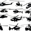 Stock Vector: Big collection of helicopters