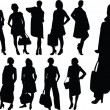 Stock Vector: Business women collection silhouette
