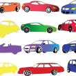 Car collection in different color - Stock Vector