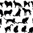 Stock Vector: Cats and dogs silhouette collection