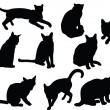 Cats silhouette collection — Stock Vector