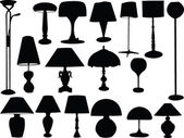 Big collection of lamps — Stock Vector