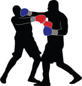 Boxing match silhouette 1 — Stock Vector