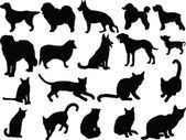 Cats and dogs silhouette collection — Stock Vector