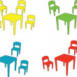 Stock Vector: Children chairs and tables