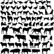 Farm animals silhouette collection — Imagen vectorial
