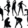 Girls in funny poses silhouette — Stock Vector #2165155