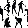 Girls in funny poses silhouette — Stock Vector