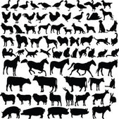 Farm animals silhouette collection — Vector de stock