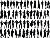 Girls silhouette collection — 图库矢量图片