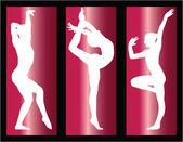 Gymnastics girls on background — Stock Vector
