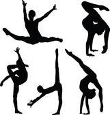 Gymnastics girl silhouette collection — Stock Vector